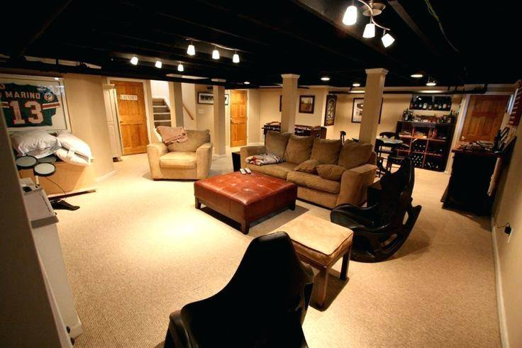 unfinished basement ceiling lighting ideas low marvelous transitional  living ceilin