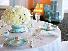 tiffany blue table settings blue theme wedding centerpiece ideas for party
