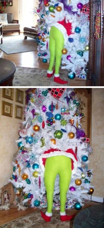 DIY Christmas Grinch (for Indoor or Outdoor Tree) | Click Pic for 21 DIY Christmas  Outdoor Decorations Ideas | Front Porch Christmas Decorating Ideas for