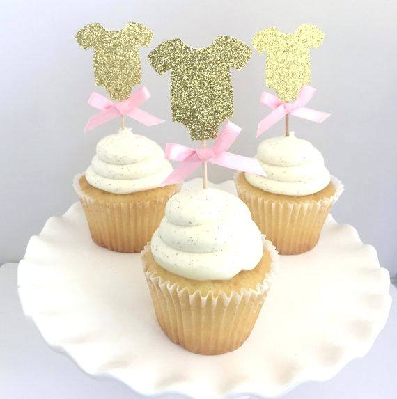 fondant cupcake topper pink brown baby shower trio collection includes  toppers decorating ideas