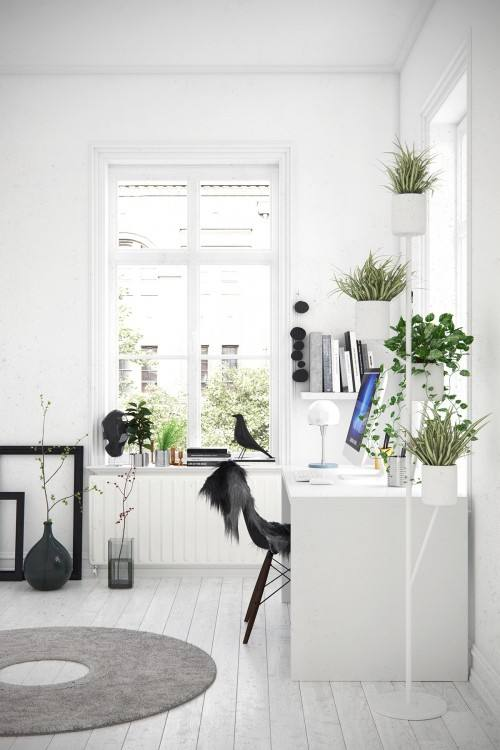 Small and narrow home office & study design with Scandinavian style  [Design: Buck Projects