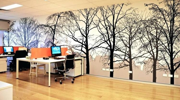 Home Office Interior Desk Table Chair Library Wall Wallpaper With Ideas