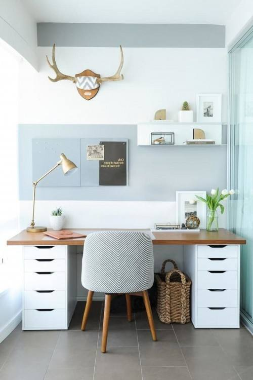 Brick wall and metal desk makes home office unique