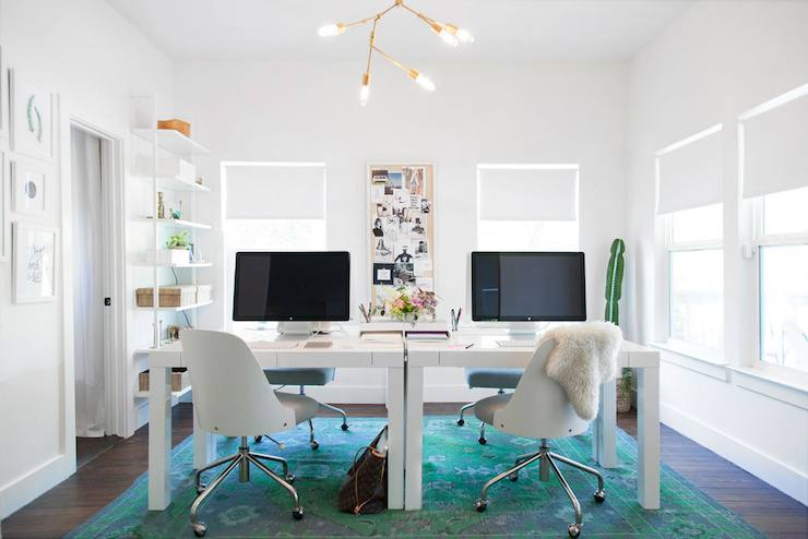 two desk home office home office for two desk sits below a small floating  shelf with