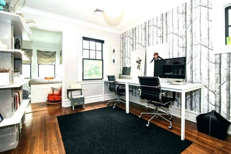 Wallpaper, neutral wall covering looks great in a home  office