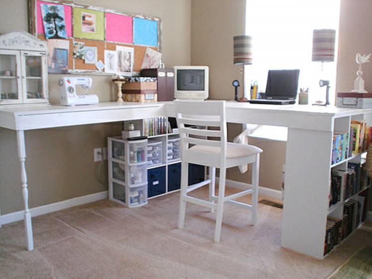 Office : Alluring Home Office Decorating Ideas With White Wooden Office  Table And White Chair Also Green Wall Paint Plus White Lamp Shade Tips on  How to