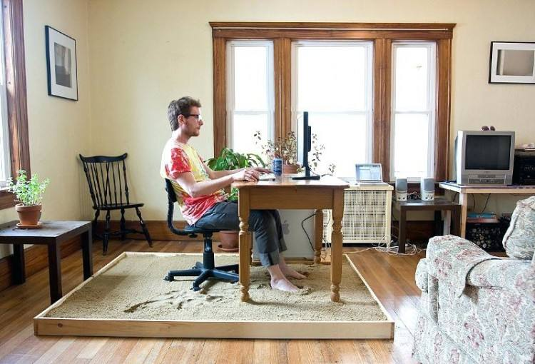 In a living room your working chair could become an extra seating when  necessary