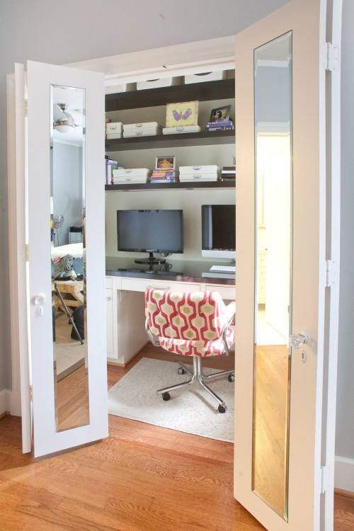 Smart Home Office Closet Organization IdeasGorgeous Home Office closet  makeover; (c) Eliminate Chaos, LLC