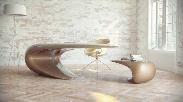 Futuristic Home Office Decor With L Shape Wooden Desk Cabinet And  Stripped Rug Idea | Medium